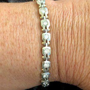 Jewelry - 18K Solid Two Tone Gold Diamond Tennis Bracelet